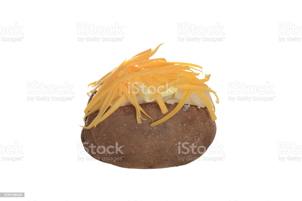 isolated baked potato with cheese and butter stock photo