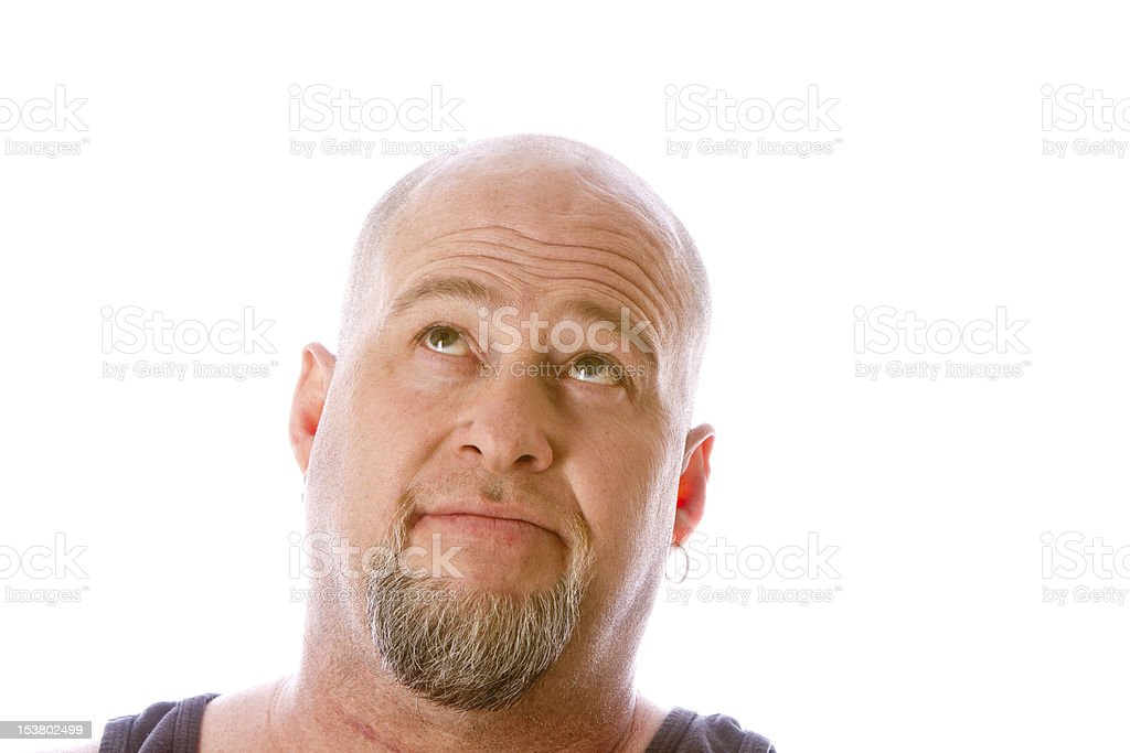 Isolated Bald Man Looking Up royalty-free stock photo