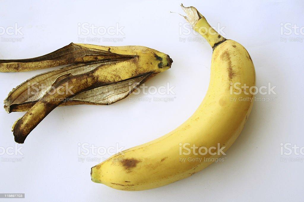 isolated banana & peel stock photo