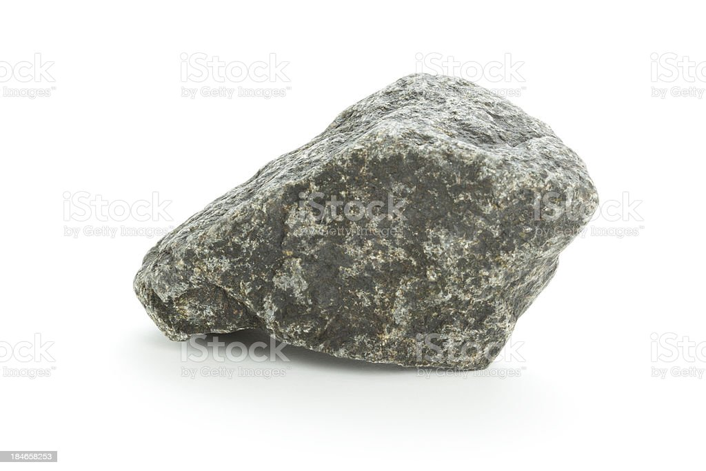 Isolated basalt rock on white stock photo