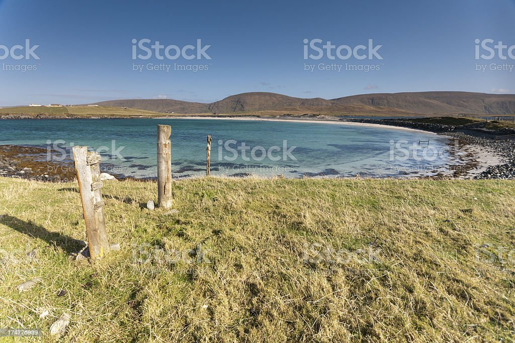 Isolated beach on West Burra Shetland stock photo