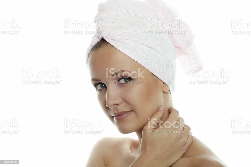 isolated beauty portrait of a woman with towel royalty-free stock photo