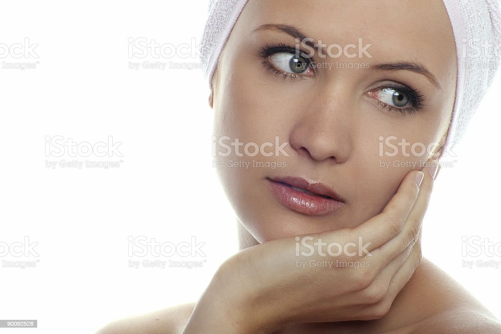 isolated beauty portrait of a woman with towel stock photo