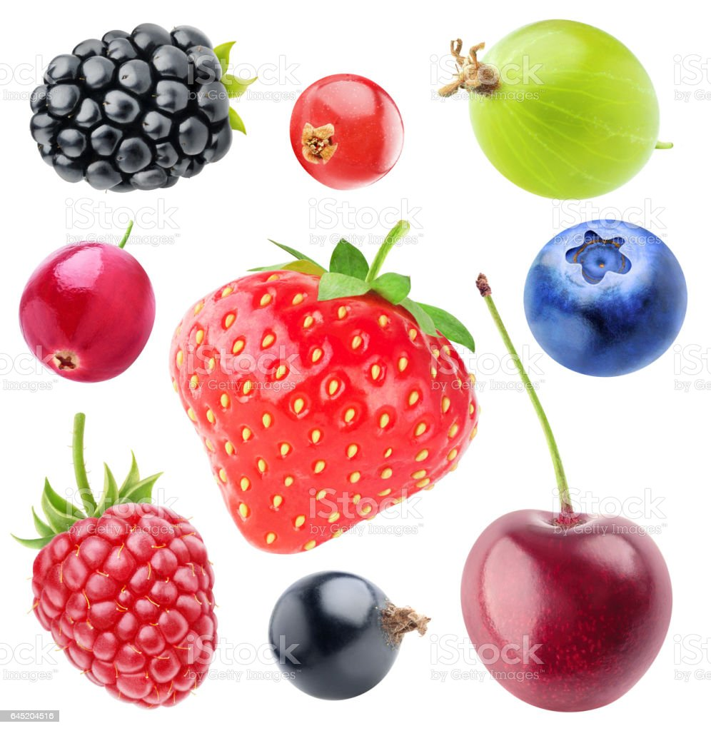 Isolated berries collection stock photo