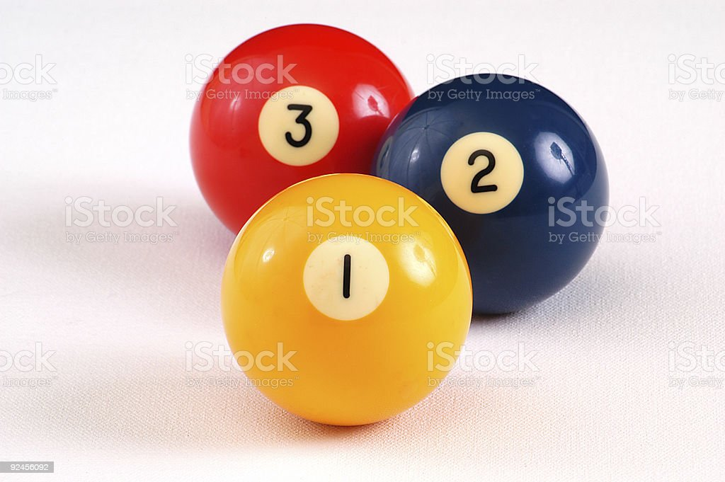 Isolated billiards balls numbered one two and three stock photo