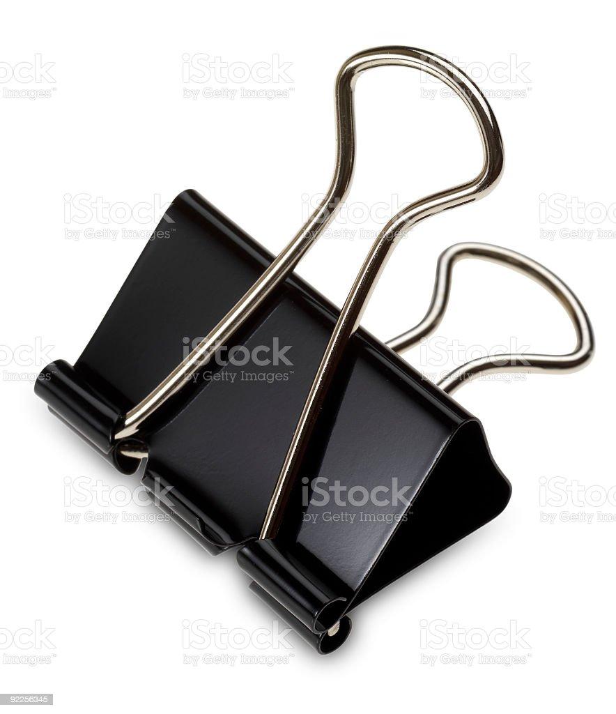Isolated binder clip on white backgrounder stock photo