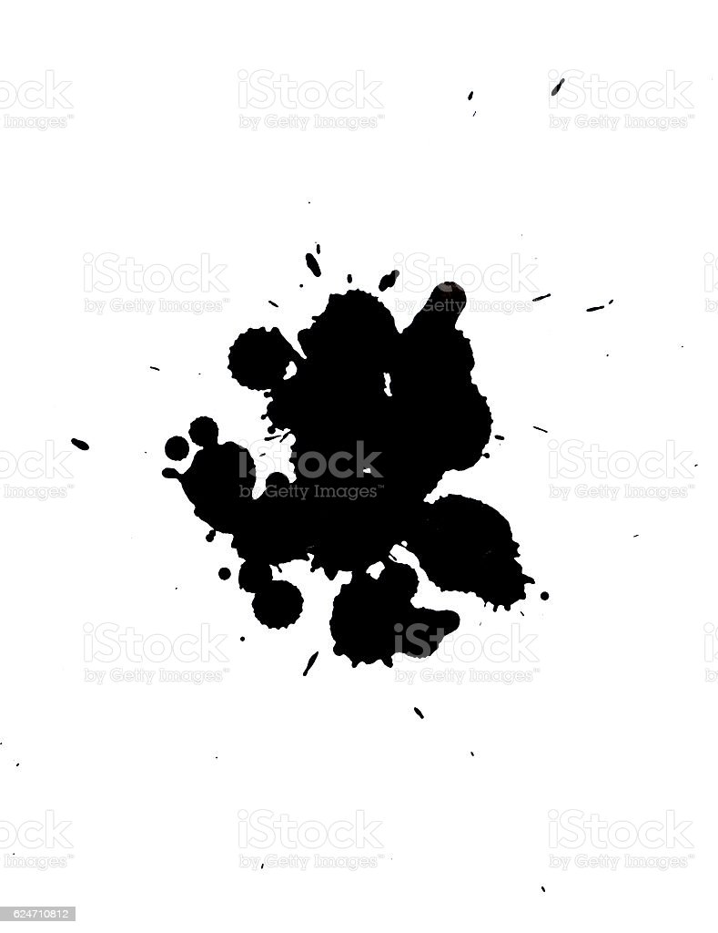 isolated black blot on a white background stock photo