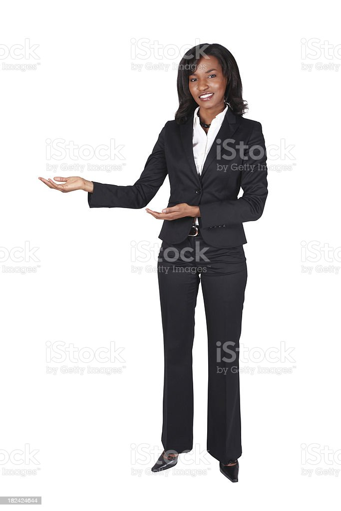 Isolated black businesswoman presenting royalty-free stock photo