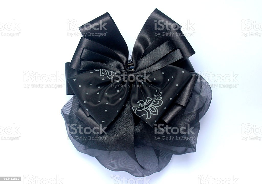 Isolated black hairnet with bow, a woman accessory stock photo