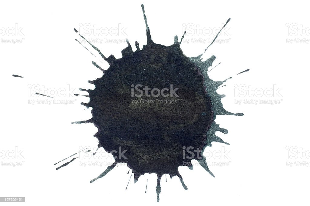 Isolated black ink splatter drop close-up stock photo
