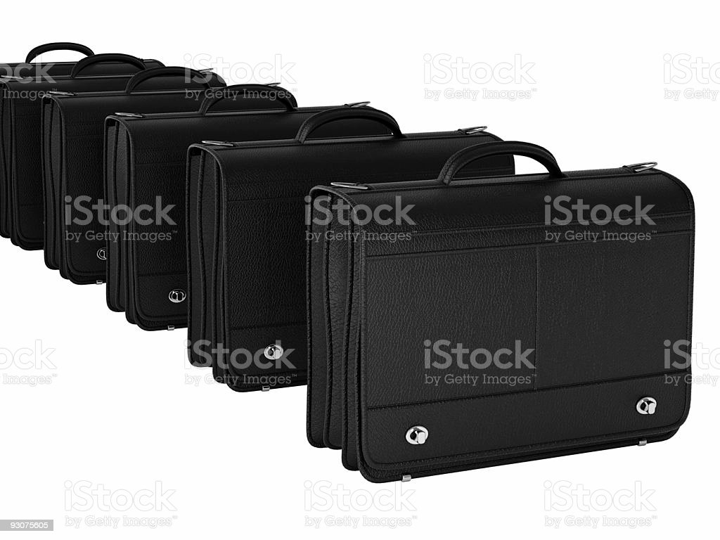 isolated black leather bag stock photo