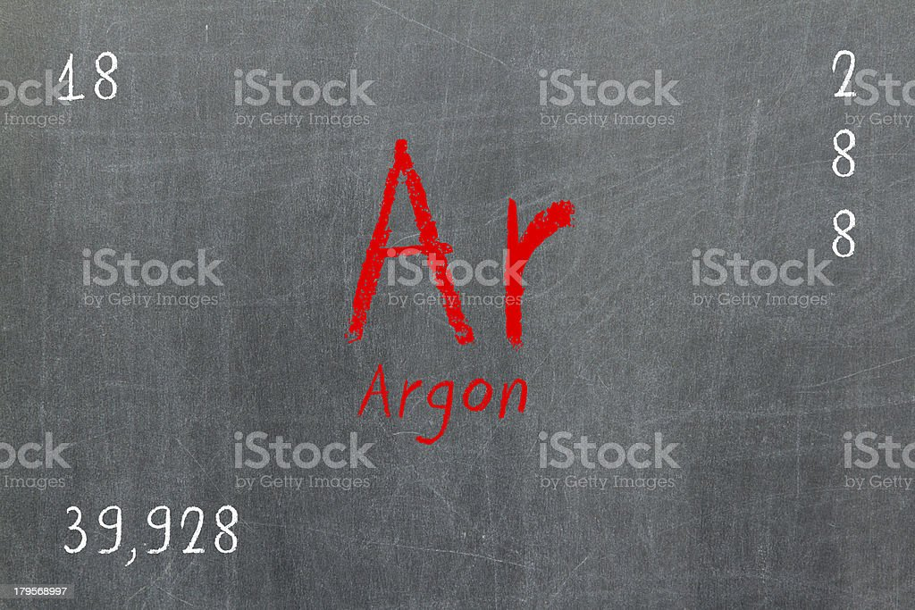 Isolated blackboard with periodic table, Argon royalty-free stock photo