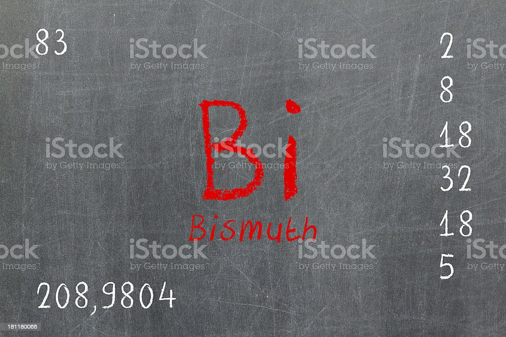 Isolated blackboard with periodic table, Bismuth stock photo