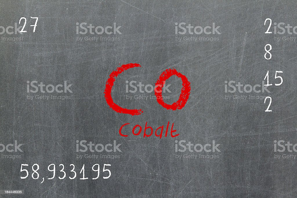 Isolated blackboard with periodic table, Cobalt royalty-free stock photo