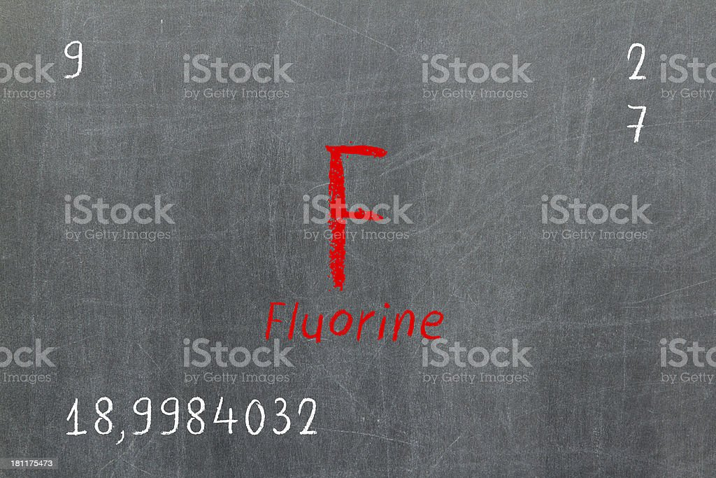 Isolated blackboard with periodic table, Fluorine royalty-free stock photo