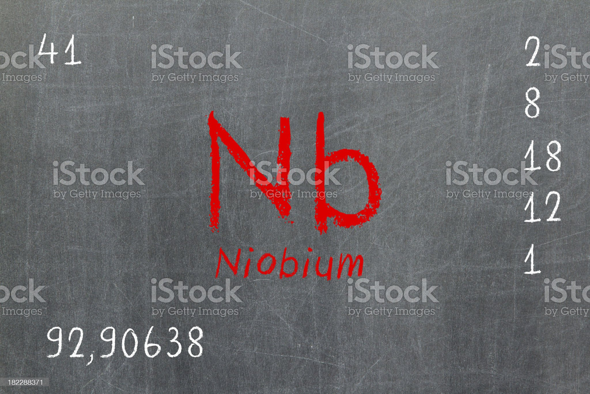 Isolated blackboard with periodic table, Niobium royalty-free stock photo