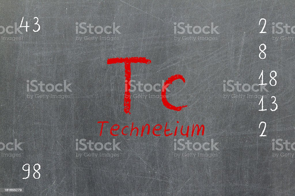 Isolated blackboard with periodic table, Technetium stock photo