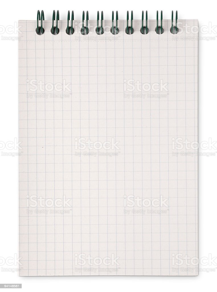 Isolated Blank Notepad (with clipping path) stock photo