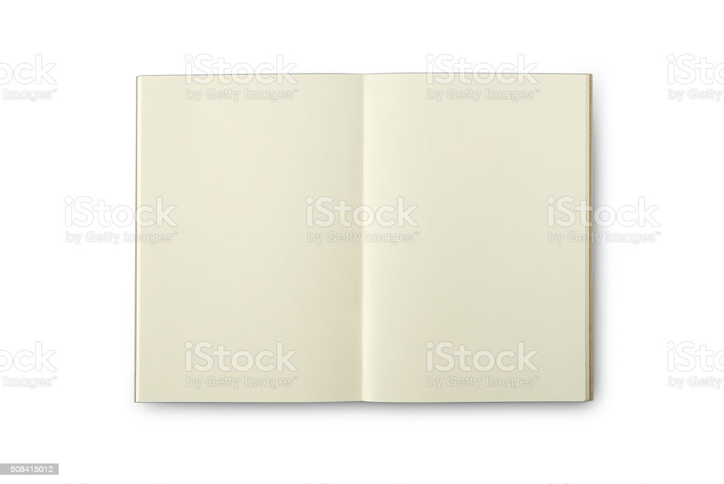 Isolated blank page Creamish color notebook stock photo