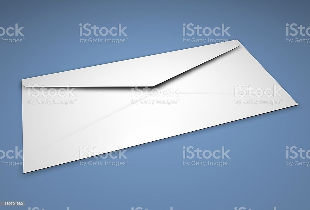 Isolated blank white envelope face down on blue surface royalty-free stock photo