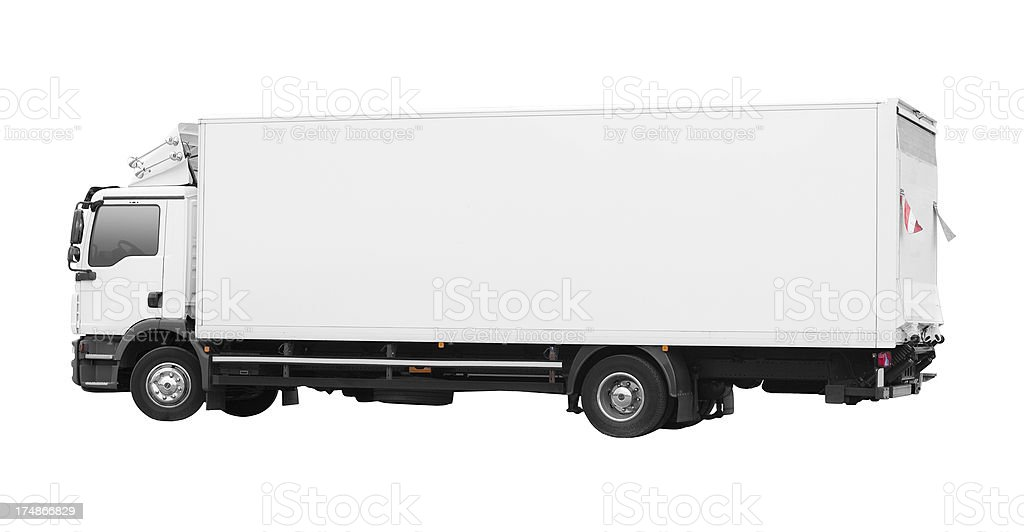Isolated blank white truck royalty-free stock photo