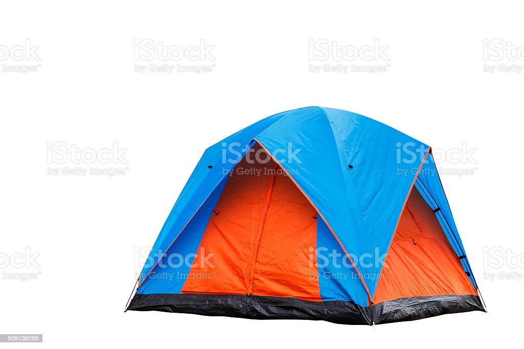 Isolated blue and orange dome tent stock photo