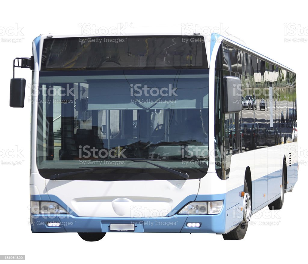 isolated blue and white bus stock photo