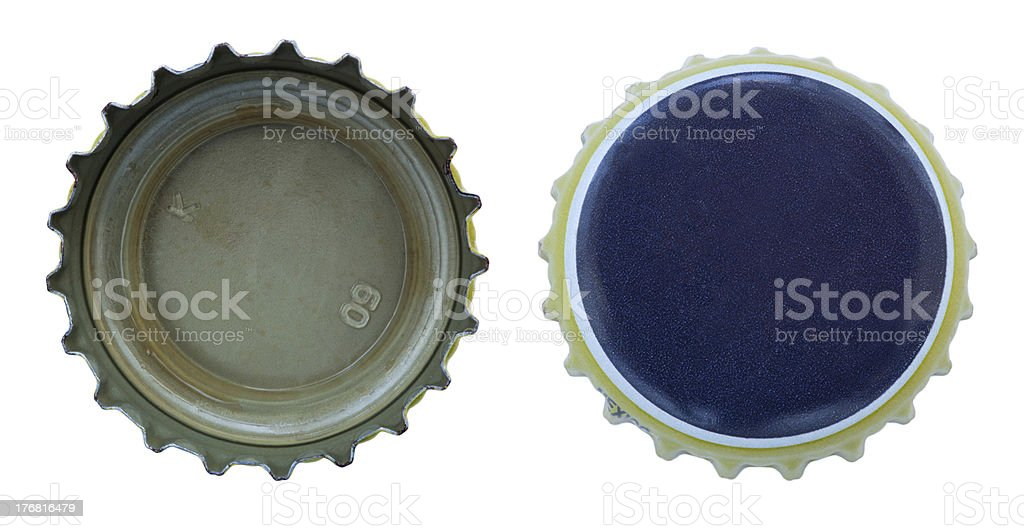 Isolated Blue and Yellow Metal Caps royalty-free stock photo