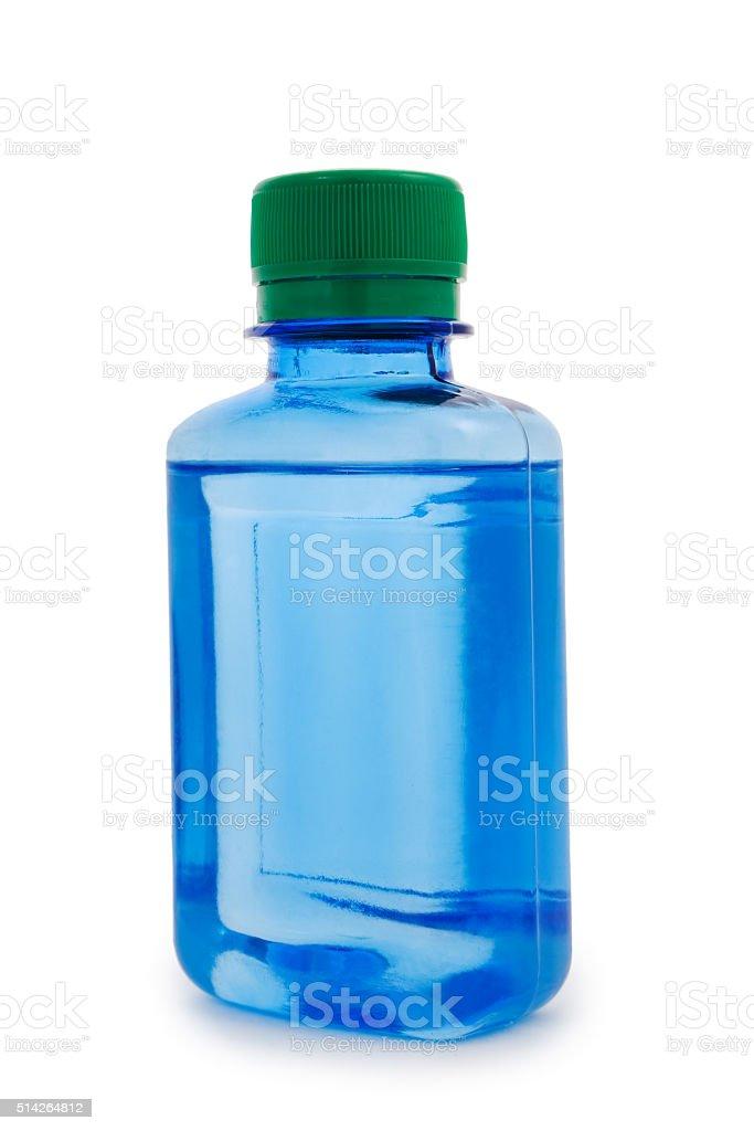 isolated blue bottle hemical stock photo