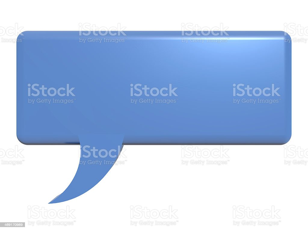 Isolated blue chat bubble. stock photo