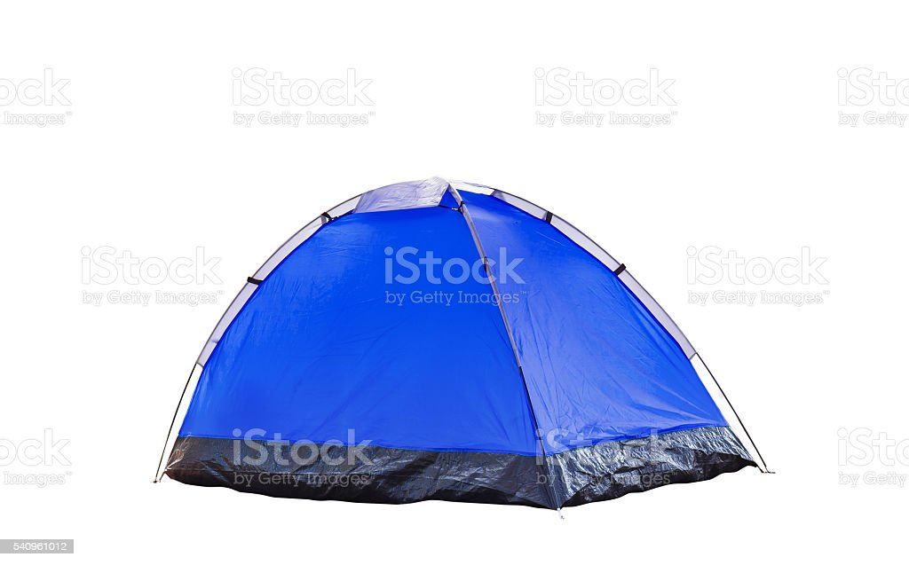 Isolated blue dome tent on white stock photo