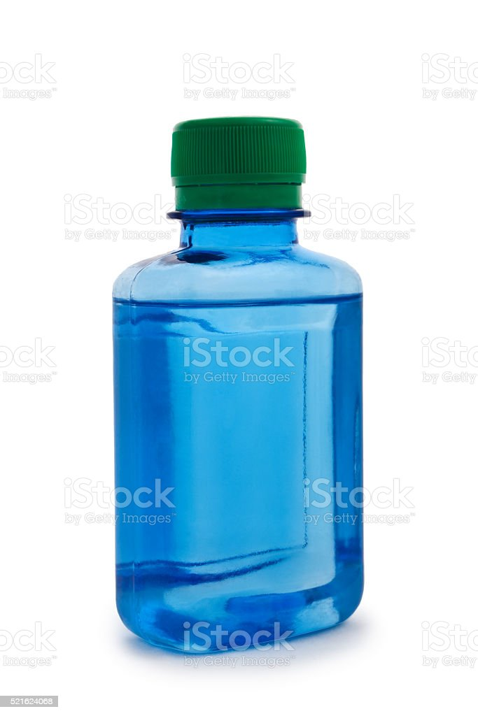 isolated blue hemical bottle stock photo