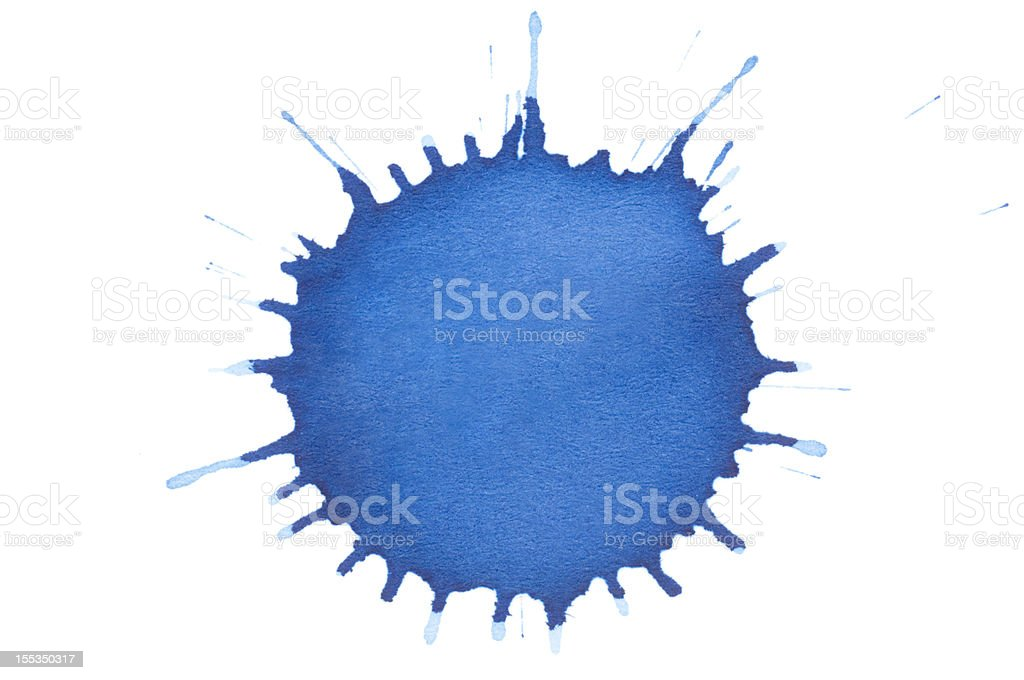 Isolated blue ink splatter drop close-up stock photo