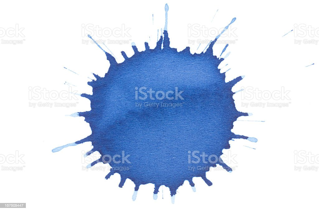Isolated blue ink splatter drop close-up royalty-free stock photo