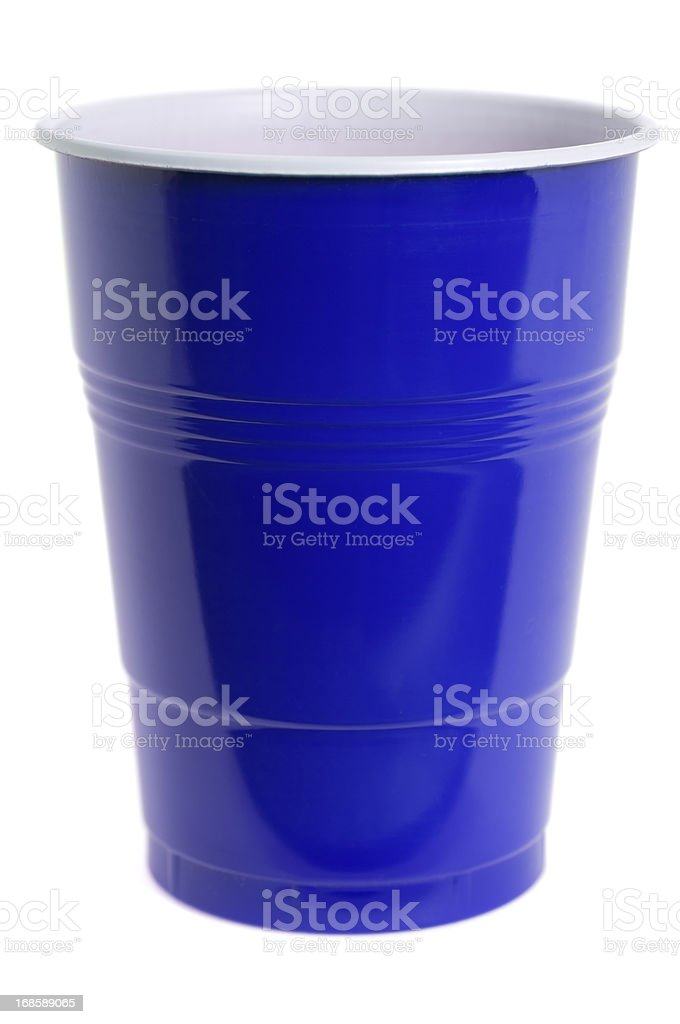 Isolated blue plastic cup on white stock photo