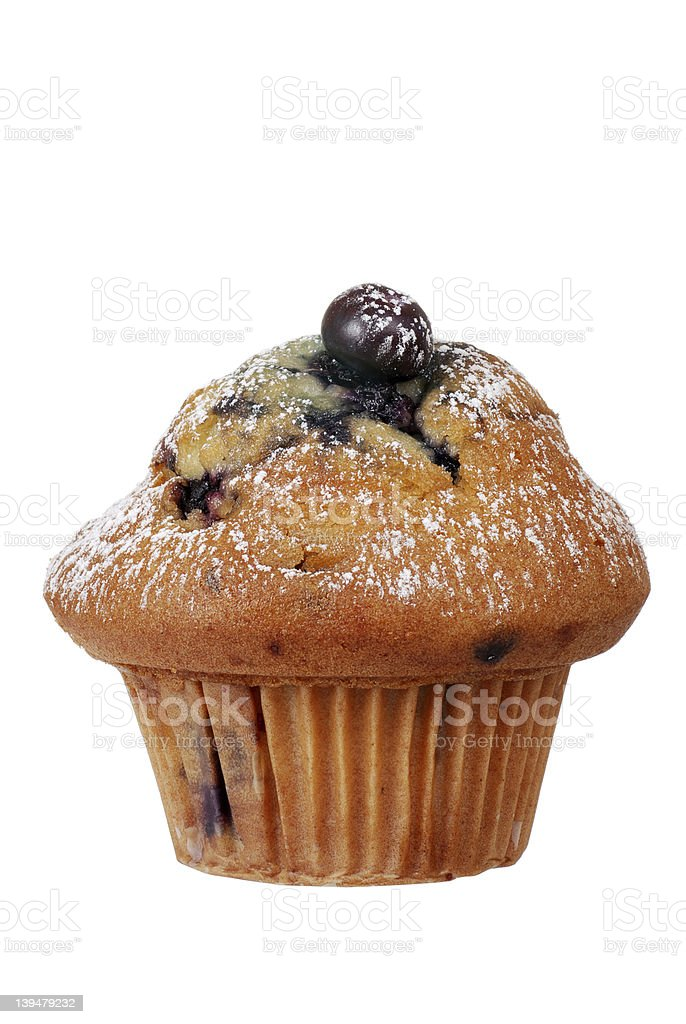 Isolated blueberry muffin with icing sugar royalty-free stock photo