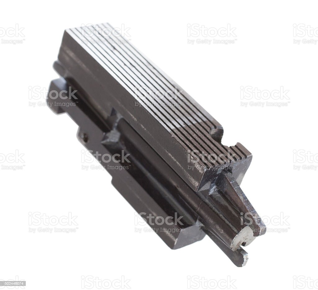 Isolated bolt carrier stock photo