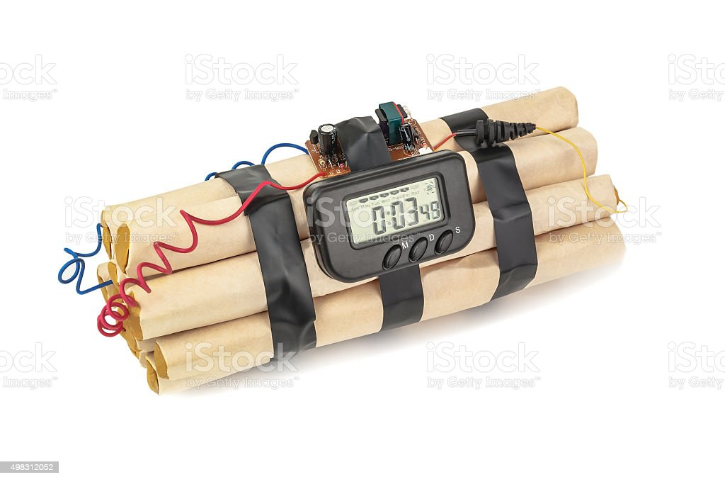 isolated bomb with timer stock photo