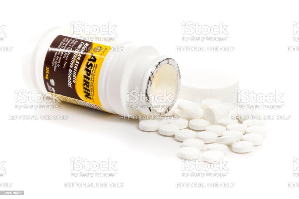 Isolated Bottle Of 100 325 mg bayer Aspirin stock photo