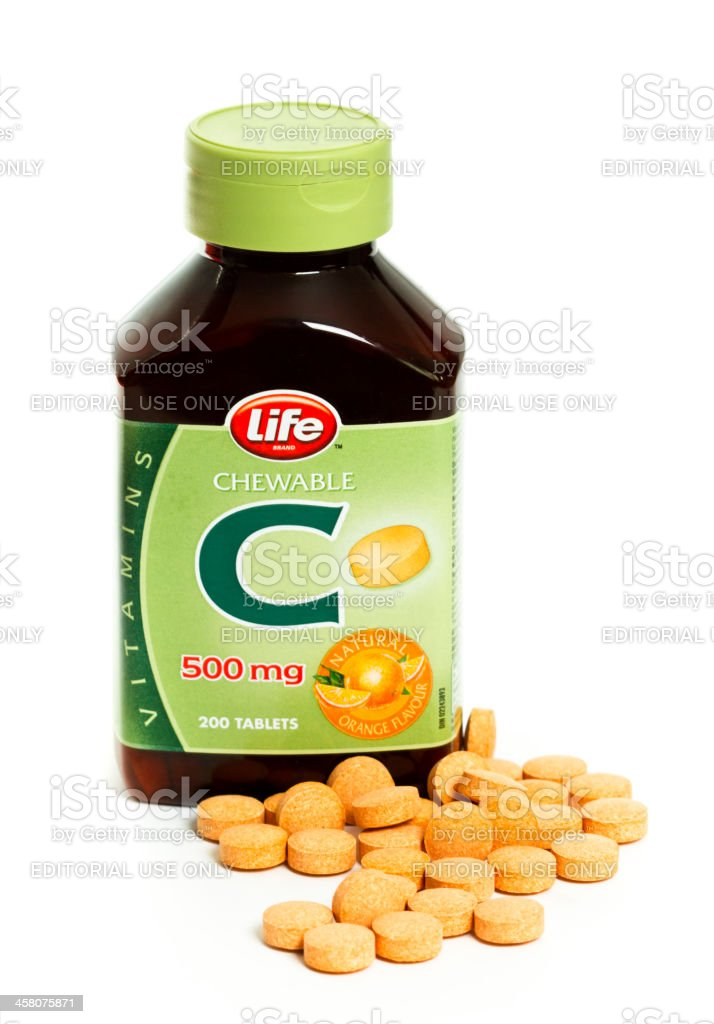 Isolated Bottle Of Life Brand 500 mg Chewable Vitamin C royalty-free stock photo