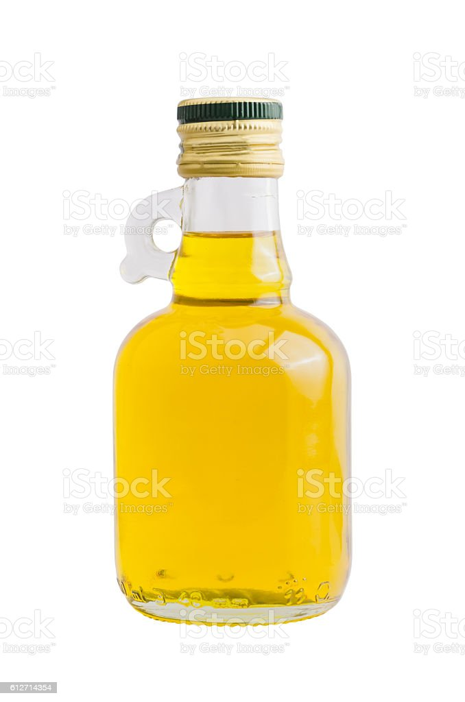 Isolated bottle of rice bran oil stock photo