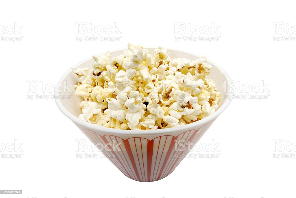 Isolated bowl of popcorn w/clipping path royalty-free stock photo