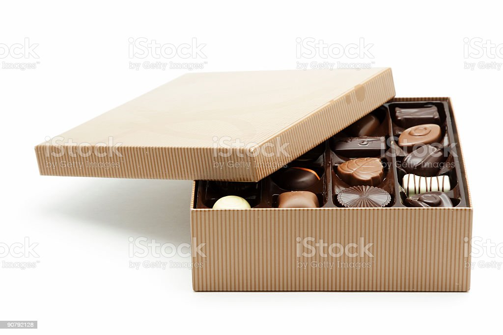 Isolated box of chocolates with lid open stock photo