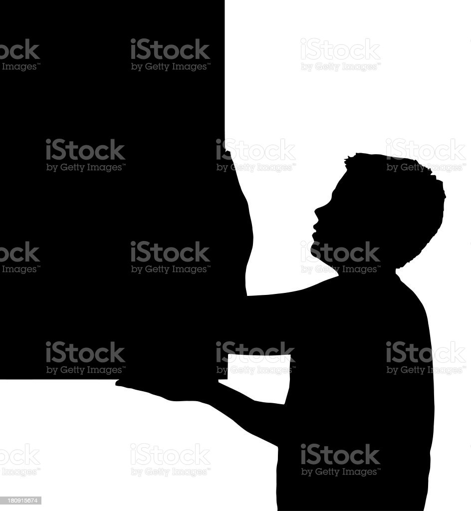 Isolated Boy Child Gesture Carrying Large Frame royalty-free stock photo
