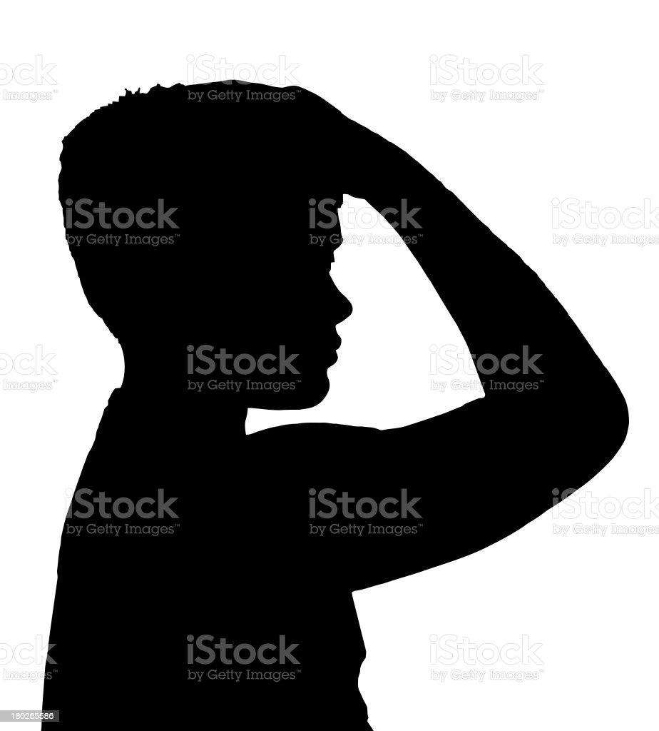 Isolated Boy Child Gesture Unshore Thinker royalty-free stock photo