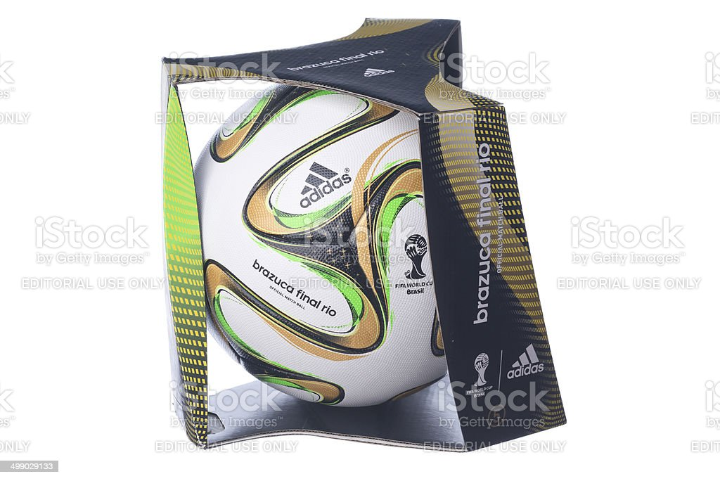 Isolated Brazuca football for the Brazil Worldcup final royalty-free stock photo