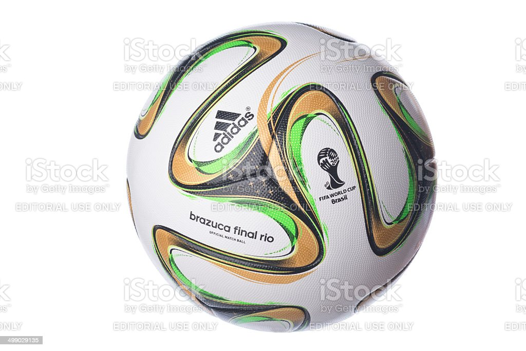 Isolated Brazuca football for the Brazil Worldcup final stock photo