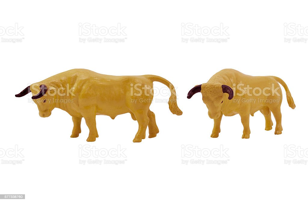 Isolated bull toy profile and angle view photo. stock photo