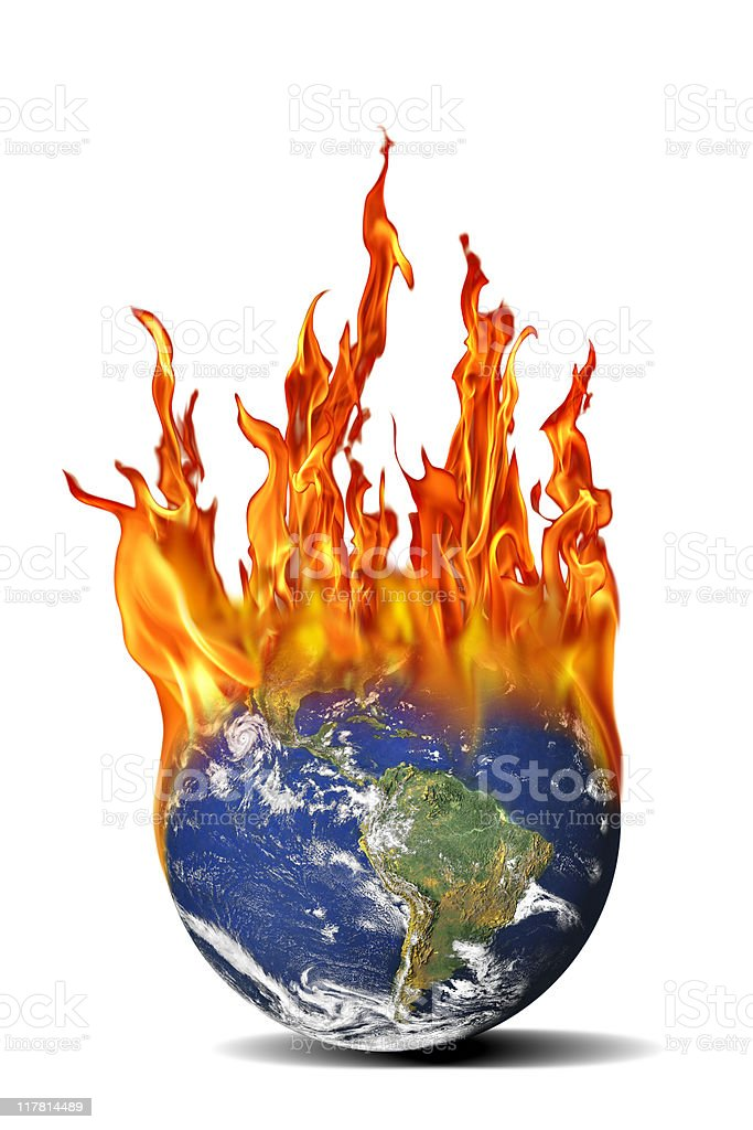 isolated burning world stock photo