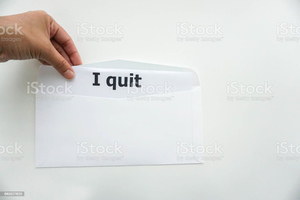 isolated business concept of quitting the job from company stock photo